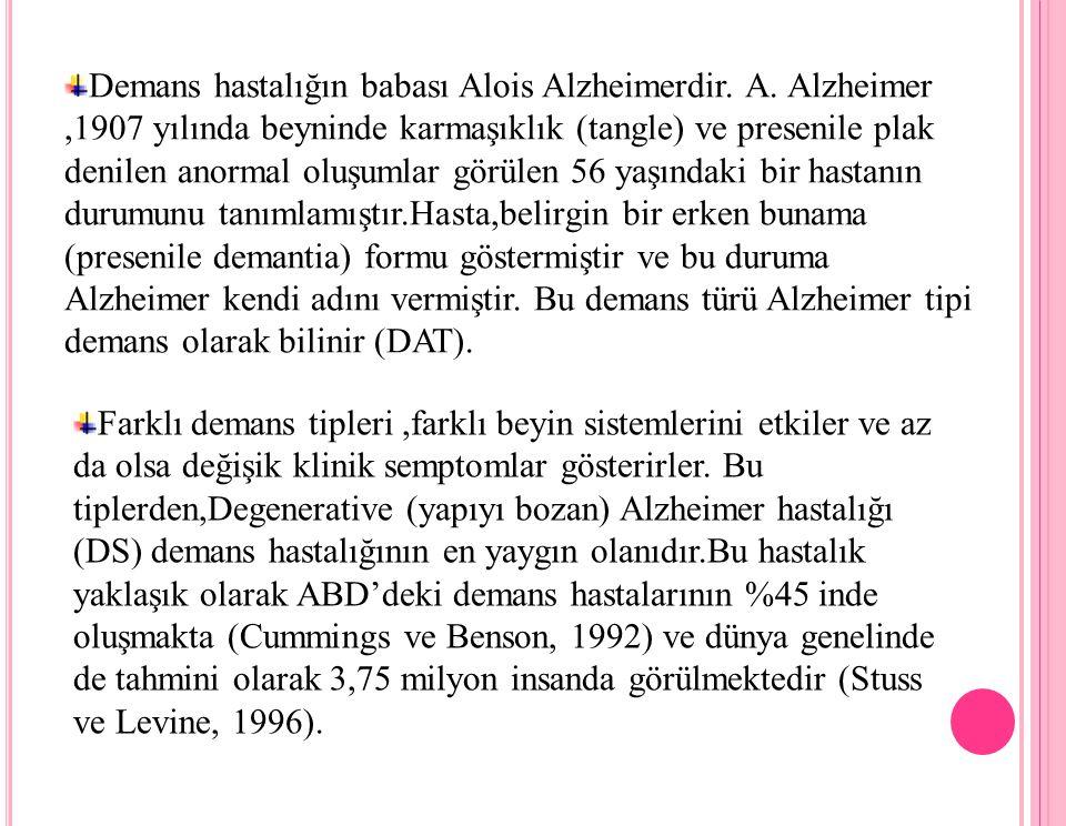Alzheimer Tipi Demans ( DAT) DSM-IV'e göre bu demans tipi şu özelliklerle karakterize edilmektedir: Hafıza zayıflamasıyla beliren bilişsel eksiklik (yeni bilgiyi öğrenme ve eskiden öğrenilen bilgileri hatırlama) ve bir veya birkaç aphasia (konuşma yitimi) olayı, apraxia, agnosia ve uygulama fonksiyonu sorunları, Önceki iş yapma seviyesine göre çok önemli derecelerde azalma gösteren semptomlar, Dereceli olarak ilk belirtiler ve süreklilik gösteren bilişsel seviyedeki azalma, Diğer progressive (ilerlemeli, ilerleyen) CNS hastalıklarından veya demans hastalığına sebep olmayan nedenlerden kaynaklanmayan semptomlar.