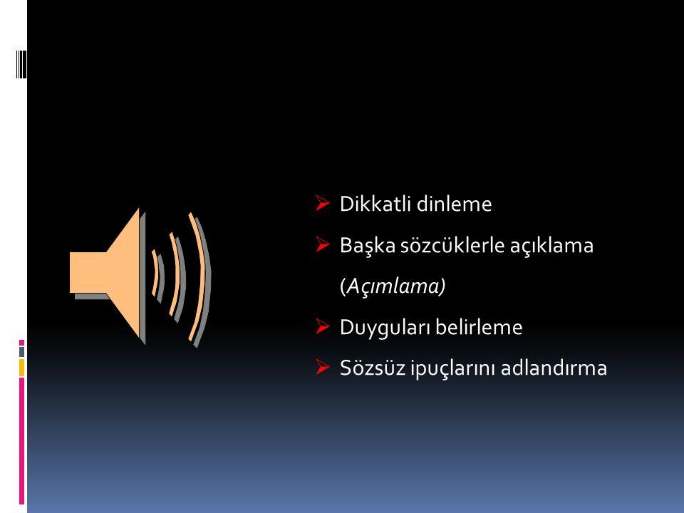  Dikkatli dinleme  Başka sözcüklerle açıklama (Açımlama)  Duyguları belirleme  Sözsüz ipuçlarını adlandırma