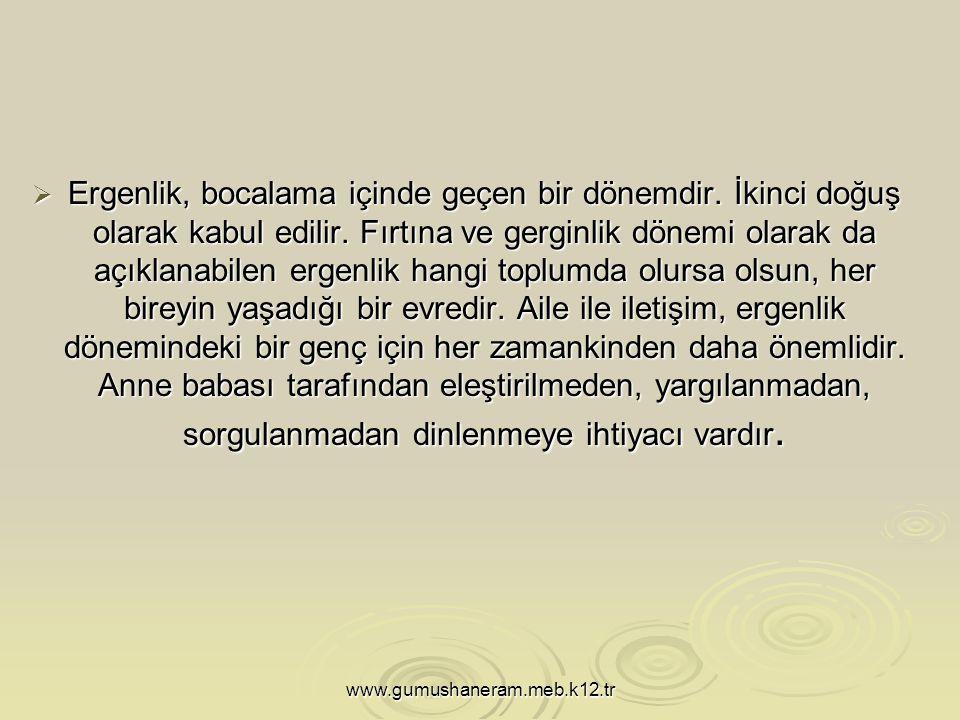 www.gumushaneram.meb.k12.tr  Ergenlik, bocalama içinde geçen bir dönemdir.