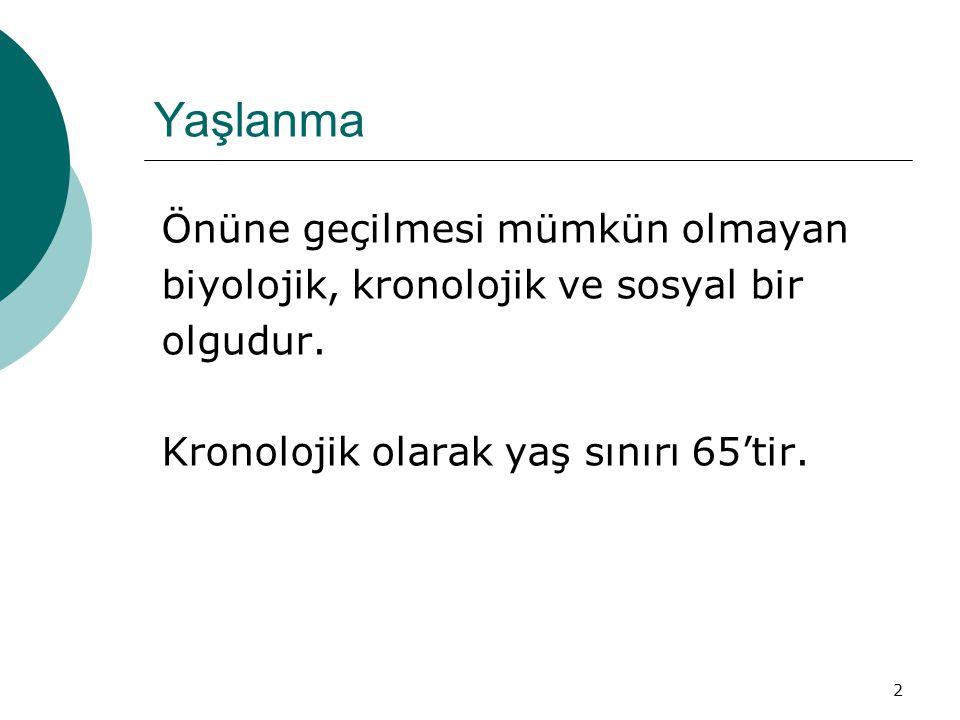 3 Yaşlanan dünya ve Türkiye TÜRKİYE > 65 YAŞ 1985  %4,2 1995  %4,7 2000  %5,6 2005  %6,3 2010  %7,1