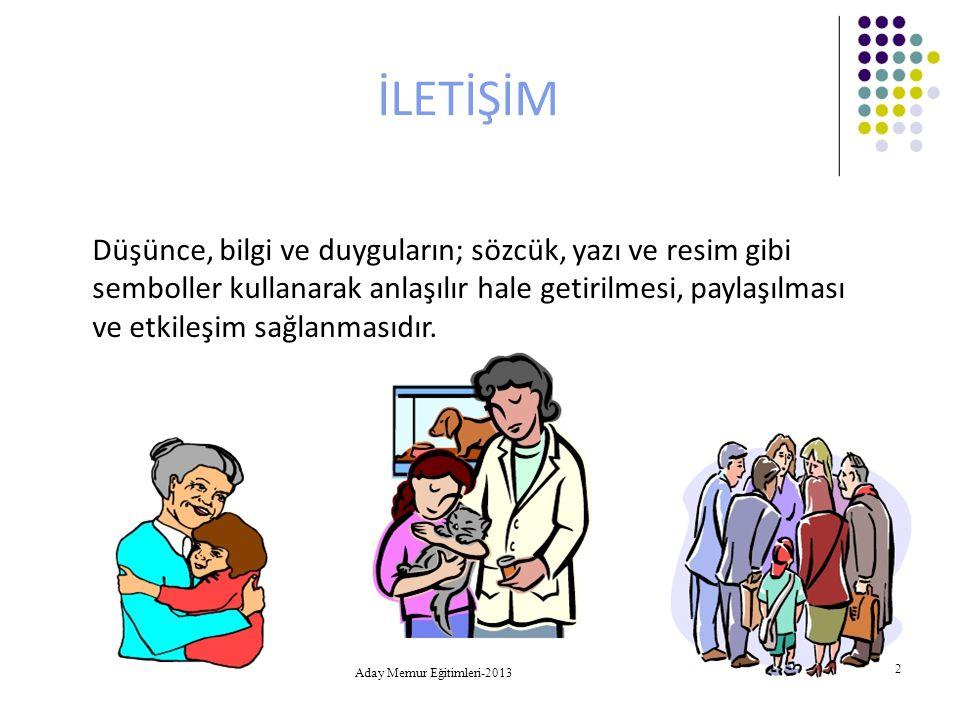 Aday Memur Eğitimleri-2013 13 Hedef (Alıcı) Vericinin mesajını algılayan kişi alıcıdır.