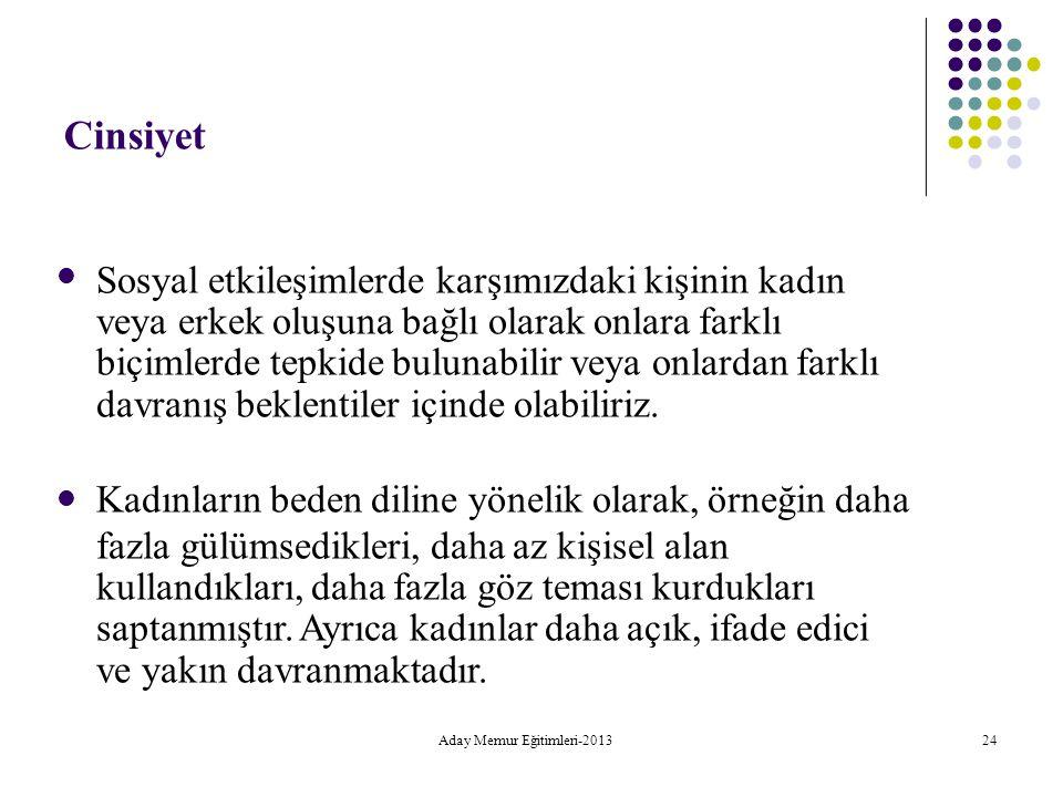 Aday Memur Eğitimleri-2013 24 Cinsiyet Sosyal etkileşimlerde karşımızdaki kişinin kadın veya erkek oluşuna bağlı olarak onlara farklı biçimlerde tepki