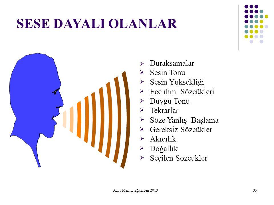 Aday Memur Eğitimleri-2013 35 SESE DAYALI OLANLAR  Duraksamalar Sesin Tonu Sesin Yüksekliği Eee,ıhm Sözcükleri Duygu Tonu Tekrar