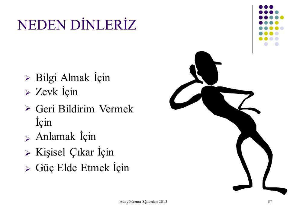 Aday Memur Eğitimleri-2013 37 NEDEN DİNLERİZ  Bilgi Almak İçin Zevk İçin Geri Bildirim Vermek İçin Anlamak İçin Kişisel Çıkar İçin Güç Eld