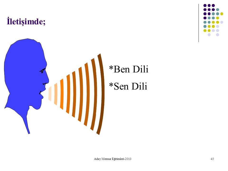 Aday Memur Eğitimleri-2013 45 İletişimde; *Ben Dili *Sen Dili