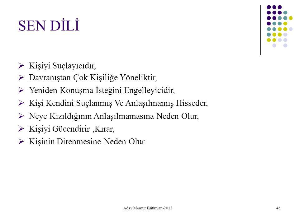 Aday Memur Eğitimleri-2013 46 SEN DİLİ  Kişiyi Suçlayıcıdır, Davranıştan Çok Kişiliğe Yöneliktir, Yeniden Konuşma İsteğini Engelleyicidi