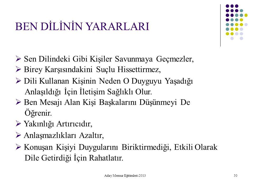 Aday Memur Eğitimleri-2013 50 BEN DİLİNİN YARARLARI  Sen Dilindeki Gibi Kişiler Savunmaya Geçmezler,  Birey Karşısındakini Suçlu Hissettirmez,  Dil