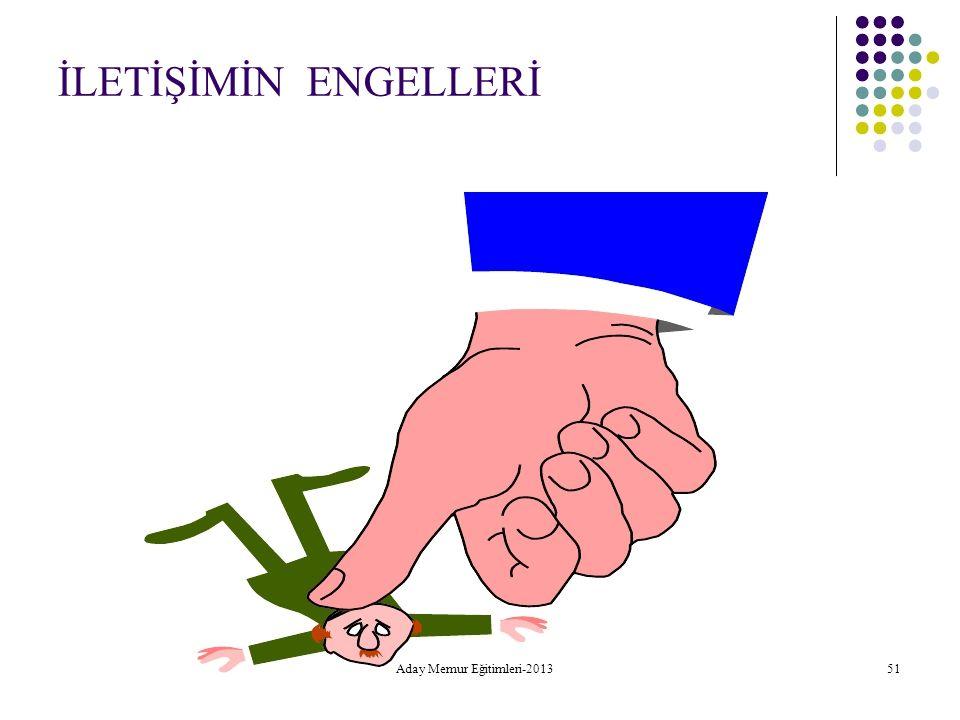 Aday Memur Eğitimleri-2013 51 İLETİŞİMİN ENGELLERİ