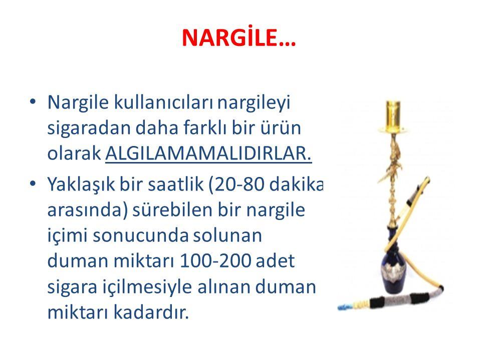 NARGİLE… Nargile kullanıcıları nargileyi sigaradan daha farklı bir ürün olarak ALGILAMAMALIDIRLAR. Yaklaşık bir saatlik (20-80 dakika arasında) sürebi