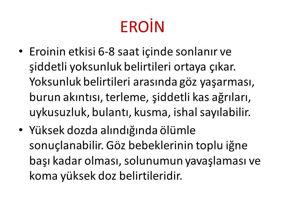 EROİN Eroinin etkisi 6-8 saat içinde sonlanır ve şiddetli yoksunluk belirtileri ortaya çıkar. Yoksunluk belirtileri arasında göz yaşarması, burun akın
