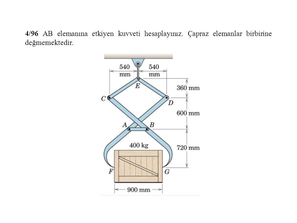 4/96 AB elemanına etkiyen kuvveti hesaplayınız. Çapraz elemanlar birbirine değmemektedir.