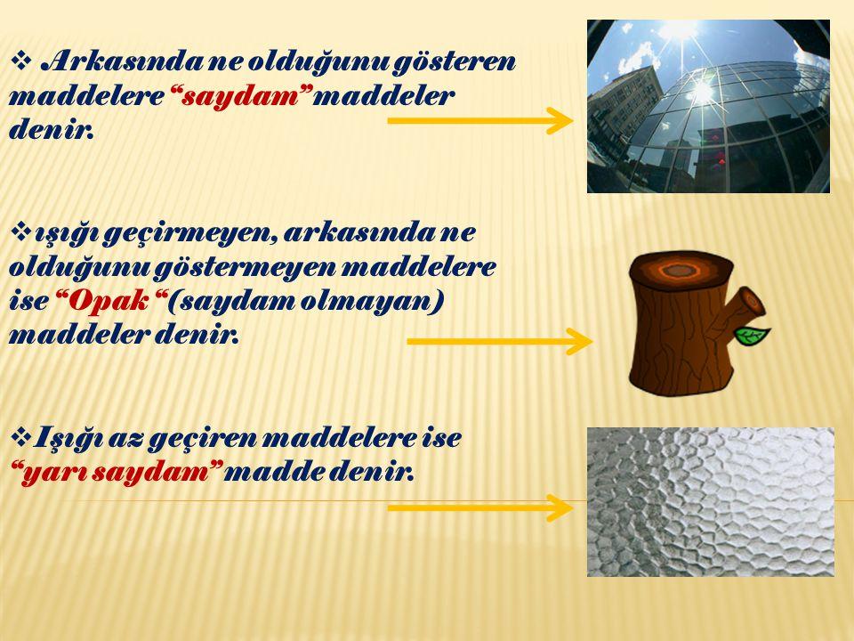 """ Arkasında ne olduğunu gösteren maddelere """"saydam"""" maddeler denir.  ışığı geçirmeyen, arkasında ne olduğunu göstermeyen maddelere ise """"Opak """"(saydam"""