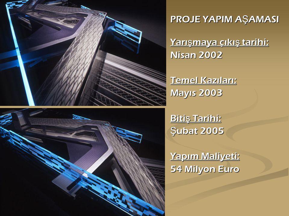 PROJE YAPIM A Ş AMASI Yarı ş maya çıkı ş tarihi: Nisan 2002 Temel Kazıları: Mayıs 2003 Biti ş Tarihi: Ş ubat 2005 Yapım Maliyeti: 54 Milyon Euro