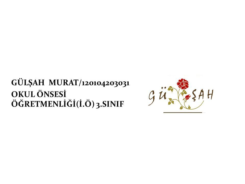 GÜLŞAH MURAT/120104203031 OKUL ÖNSESİ ÖĞRETMENLİĞİ(İ.Ö) 3.SINIF
