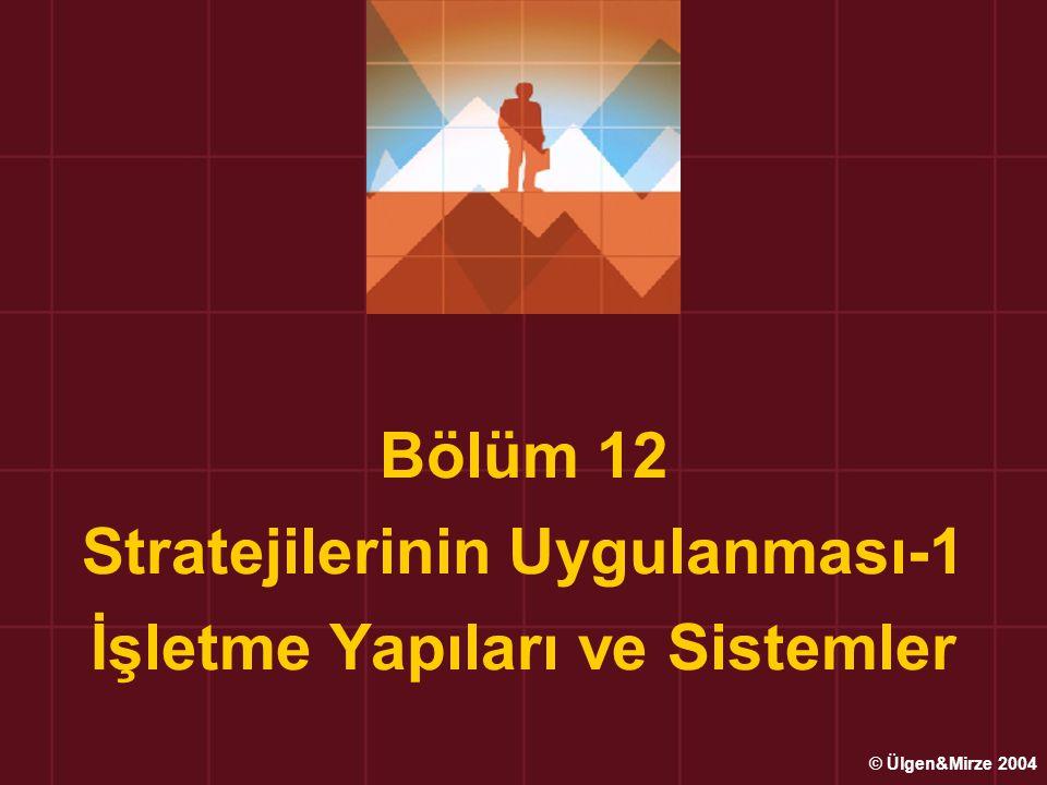 Bölüm 12 Stratejilerinin Uygulanması-1 İşletme Yapıları ve Sistemler © Ülgen&Mirze 2004