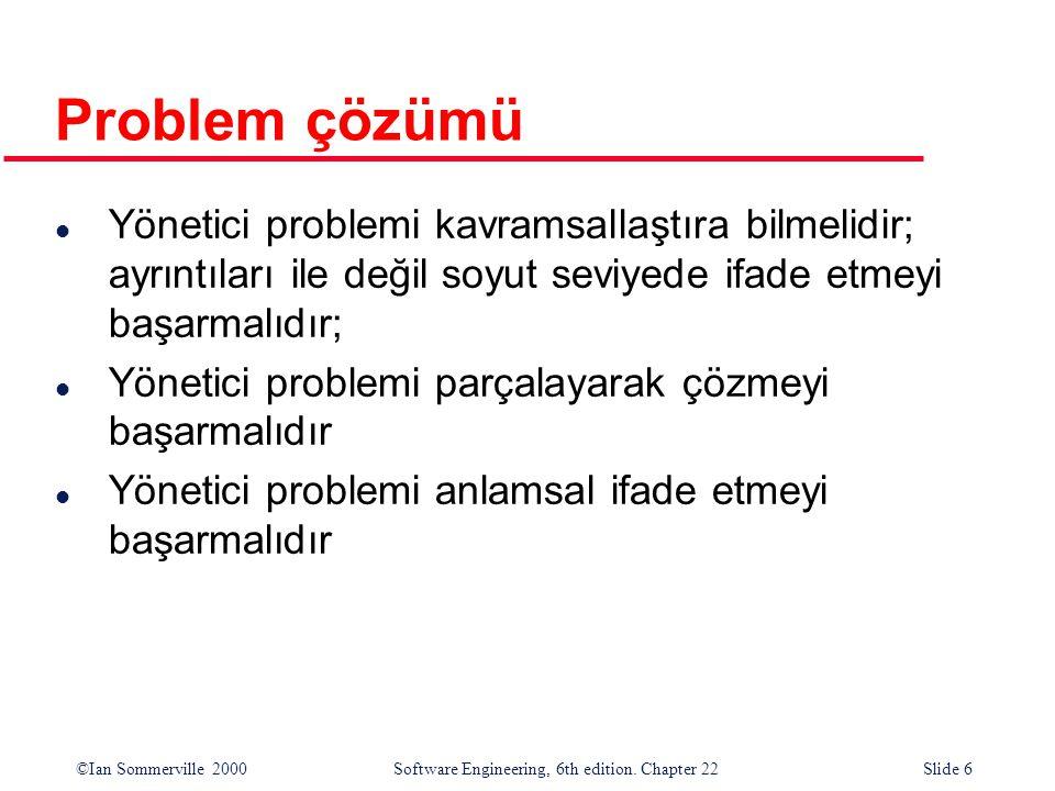 ©Ian Sommerville 2000 Software Engineering, 6th edition. Chapter 22Slide 6 Problem çözümü l Yönetici problemi kavramsallaştıra bilmelidir; ayrıntıları