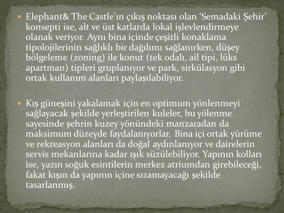 Elephant& The Castle'ın çıkış noktası olan 'Semadaki Şehir' konsepti ise, alt ve üst katlarda lokal işlevlendirmeye olanak veriyor.