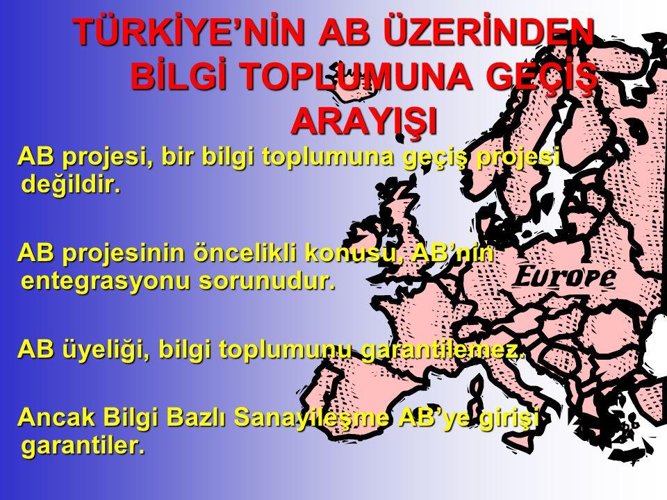 ÖNE ÇIKMA AŞAMASI Bilgi toplumunun yenilenen yapısına uyum sağlayacak yenilenmelerin devreye sokulması Yetişme aşamasında kurulan sistem ve yapının geliştirilmesi ve sürdürülmesi Türkiye'nin dünyada ilk 5-7 ülke arasında yer almasını sağlayacak politikalar