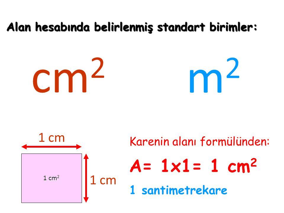 Alan hesabında belirlenmiş standart birimler: cm 2 m 2 1 cm 2 1 cm 1 cm Karenin alanı formülünden: A= 1x1= 1 cm 2 1 santimetrekare
