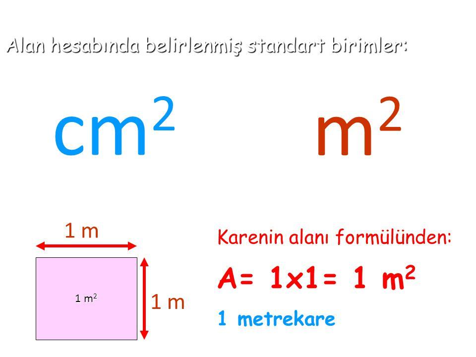 Alan hesabında belirlenmiş standart birimler: cm 2 1 m 2 1 m 1 m Karenin alanı formülünden: A= 1x1= 1 m 2 1 metrekare m 2