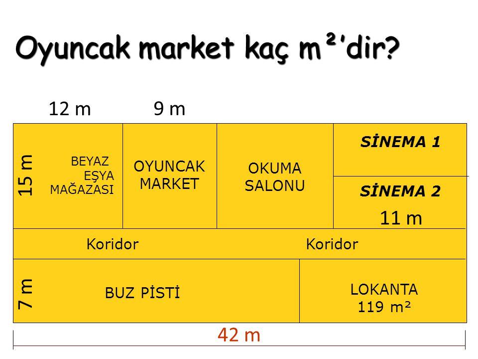 Oyuncak market kaç m²'dir? BEYAZ EŞYA MAĞAZASI OYUNCAK MARKET OKUMA SALONU BUZ PİSTİ Koridor SİNEMA 1 SİNEMA 2 LOKANTA 119 m² Koridor 12 m 9 m 11 m15