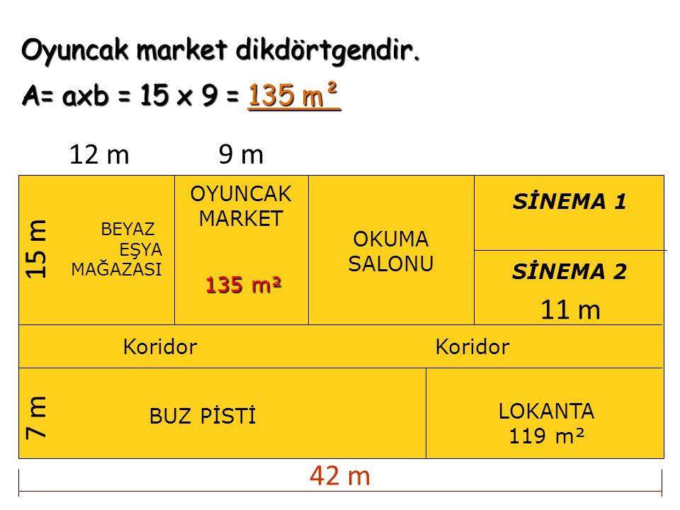 Oyuncak market dikdörtgendir. A= axb = 15 x 9 = 135 m² BEYAZ EŞYA MAĞAZASI OKUMA SALONU BUZ PİSTİ Koridor SİNEMA 1 SİNEMA 2 LOKANTA 119 m² Koridor 12
