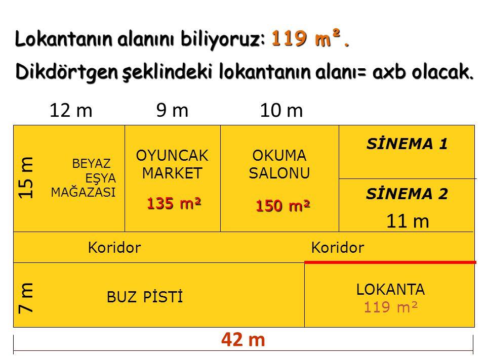 Lokantanın alanını biliyoruz: 119 m². Dikdörtgen şeklindeki lokantanın alanı= axb olacak. BEYAZ EŞYA MAĞAZASI OYUNCAK MARKET OKUMA SALONU BUZ PİSTİ Ko