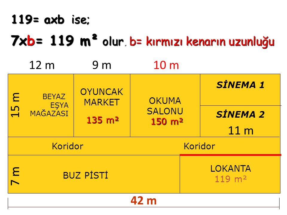 119= axb ise; 7xb= 119 m² olur. b= kırmızı kenarın uzunluğu BEYAZ EŞYA MAĞAZASI OYUNCAK MARKET OKUMA SALONU BUZ PİSTİ Koridor SİNEMA 1 SİNEMA 2 Korido