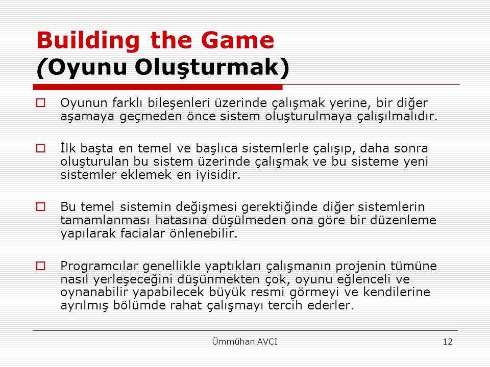 Ümmühan AVCI12 Building the Game (Oyunu Oluşturmak)  Oyunun farklı bileşenleri üzerinde çalışmak yerine, bir diğer aşamaya geçmeden önce sistem oluşt