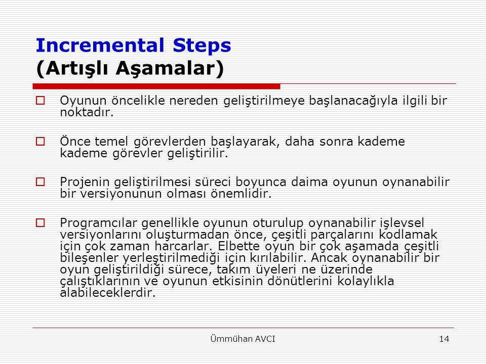 Ümmühan AVCI14 Incremental Steps (Artışlı Aşamalar)  Oyunun öncelikle nereden geliştirilmeye başlanacağıyla ilgili bir noktadır.  Önce temel görevle