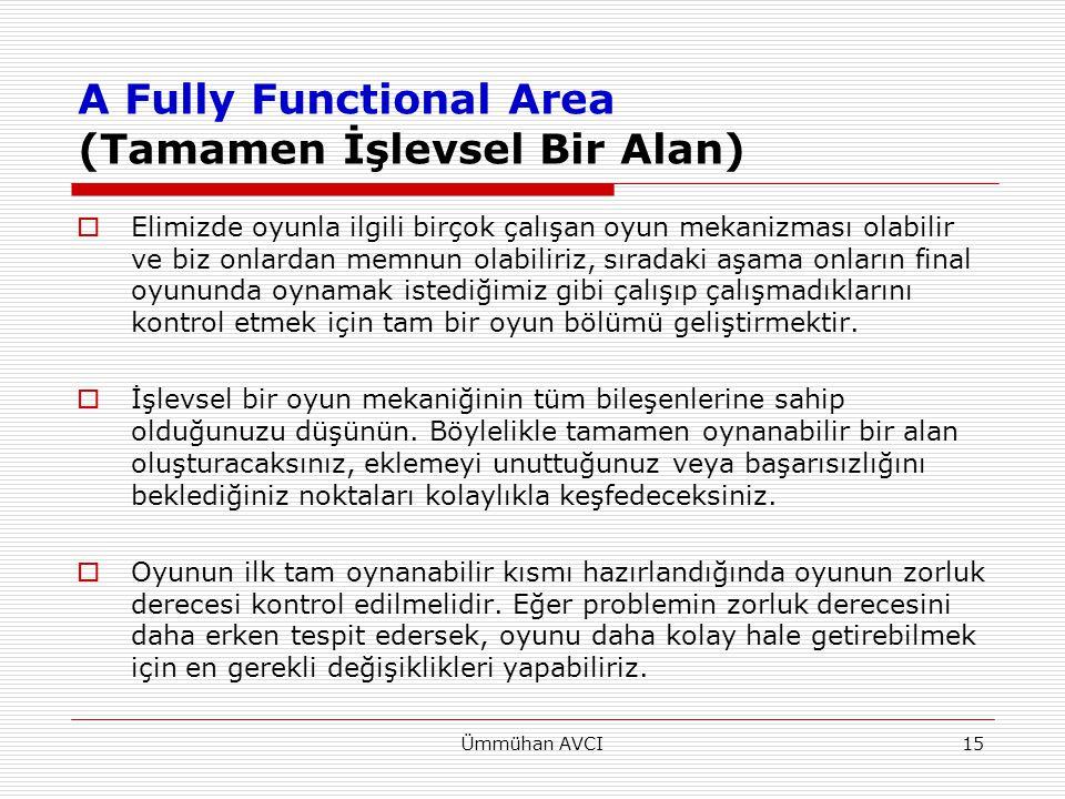 Ümmühan AVCI15 A Fully Functional Area (Tamamen İşlevsel Bir Alan)  Elimizde oyunla ilgili birçok çalışan oyun mekanizması olabilir ve biz onlardan m