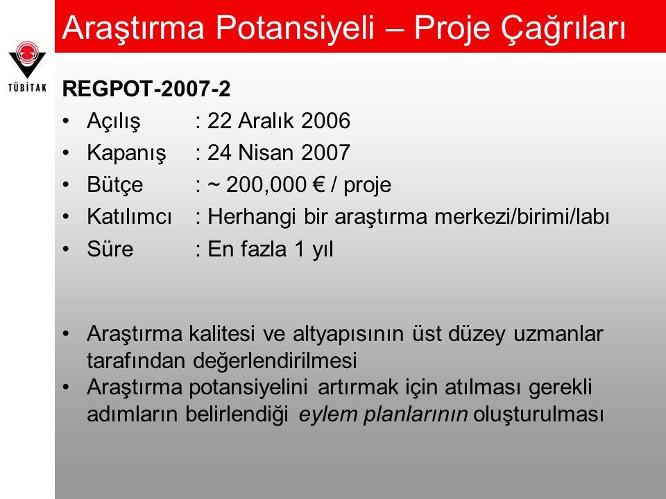 REGPOT-2007-2 Açılış: 22 Aralık 2006 Kapanış: 24 Nisan 2007 Bütçe: ~ 200,000 € / proje Katılımcı: Herhangi bir araştırma merkezi/birimi/labı Süre: En fazla 1 yıl Araştırma kalitesi ve altyapısının üst düzey uzmanlar tarafından değerlendirilmesi Araştırma potansiyelini artırmak için atılması gerekli adımların belirlendiği eylem planlarının oluşturulması