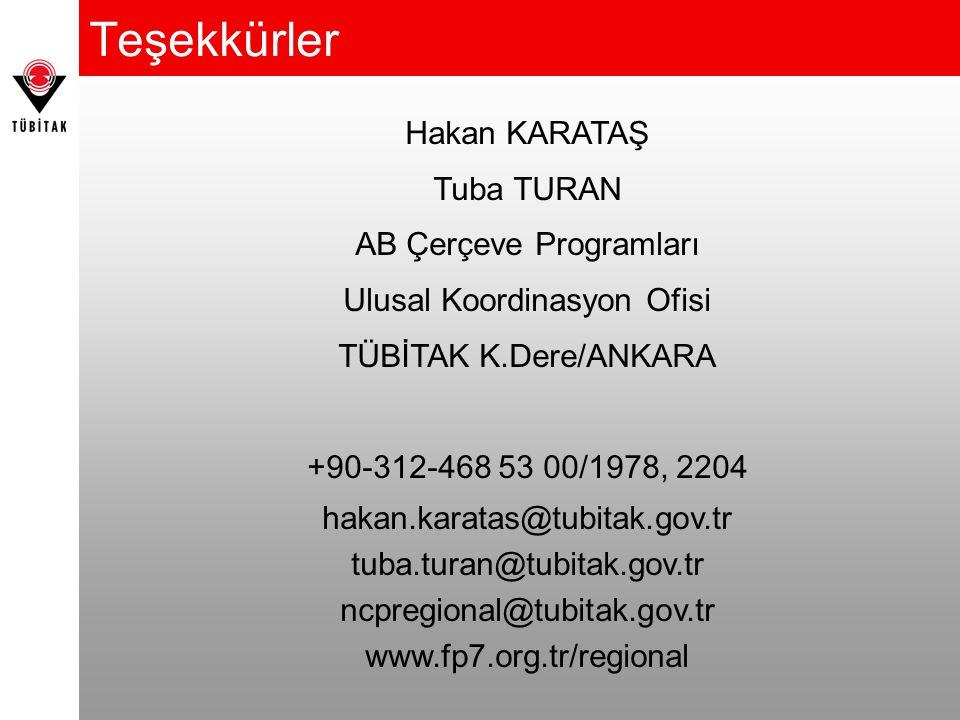 Teşekkürler Hakan KARATAŞ Tuba TURAN AB Çerçeve Programları Ulusal Koordinasyon Ofisi TÜBİTAK K.Dere/ANKARA +90-312-468 53 00/1978, 2204 hakan.karatas@tubitak.gov.tr tuba.turan@tubitak.gov.tr ncpregional@tubitak.gov.tr www.fp7.org.tr/regional
