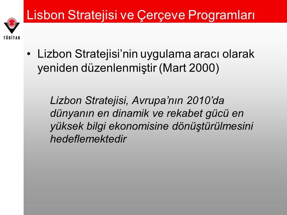 Lisbon Stratejisi ve Çerçeve Programları Lizbon Stratejisi'nin uygulama aracı olarak yeniden düzenlenmiştir (Mart 2000) Lizbon Stratejisi, Avrupa'nın 2010'da dünyanın en dinamik ve rekabet gücü en yüksek bilgi ekonomisine dönüştürülmesini hedeflemektedir