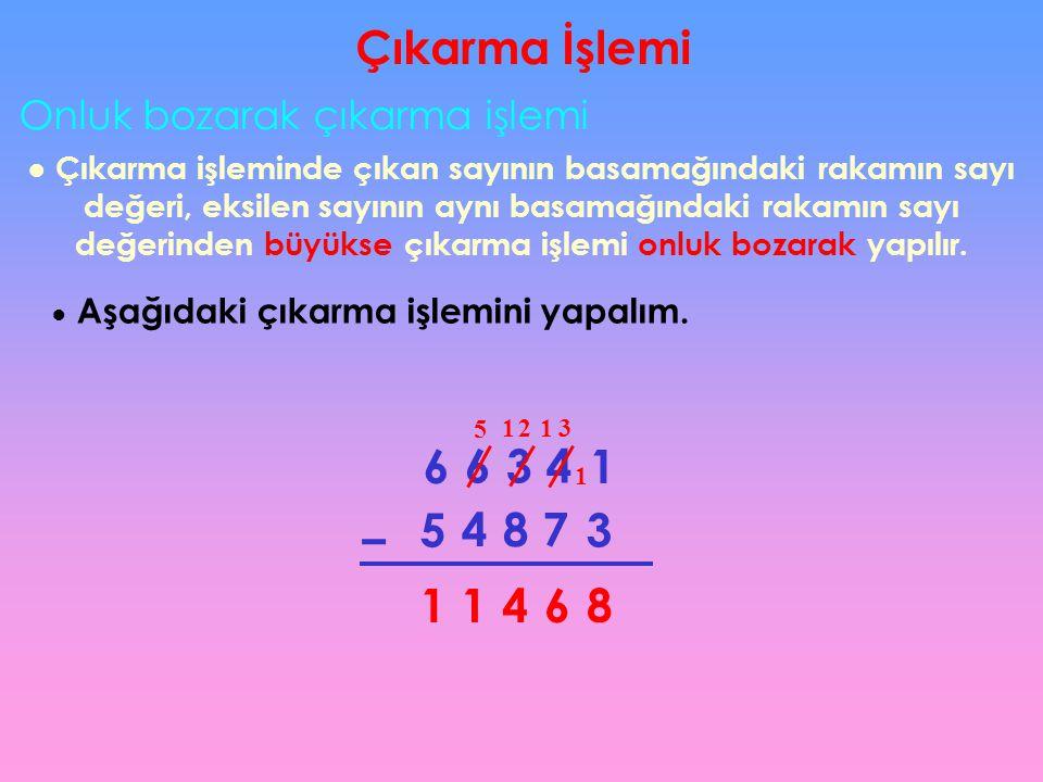 Çıkarma İşlemi Onluk bozarak çıkarma işlemi ● Çıkarma işleminde çıkan sayının basamağındaki rakamın sayı değeri, eksilen sayının aynı basamağındaki ra