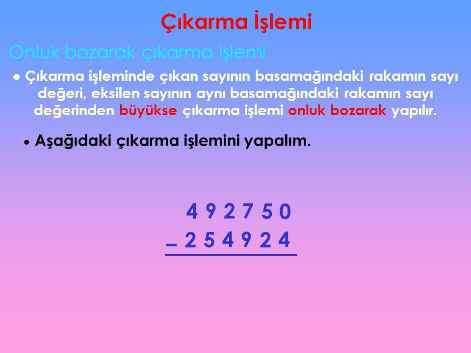 Onluk bozarak çıkarma işlemi ● Çıkarma işleminde çıkan sayının basamağındaki rakamın sayı değeri, eksilen sayının aynı basamağındaki rakamın sayı değe