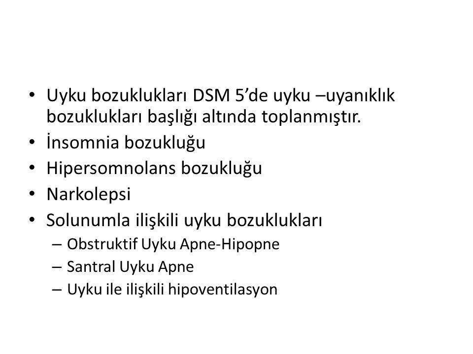 Uyku bozuklukları DSM 5'de uyku –uyanıklık bozuklukları başlığı altında toplanmıştır. İnsomnia bozukluğu Hipersomnolans bozukluğu Narkolepsi Solunumla
