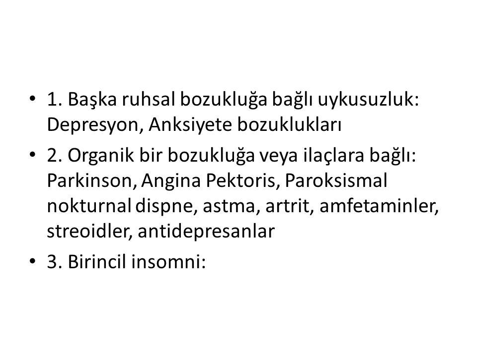 1. Başka ruhsal bozukluğa bağlı uykusuzluk: Depresyon, Anksiyete bozuklukları 2. Organik bir bozukluğa veya ilaçlara bağlı: Parkinson, Angina Pektoris