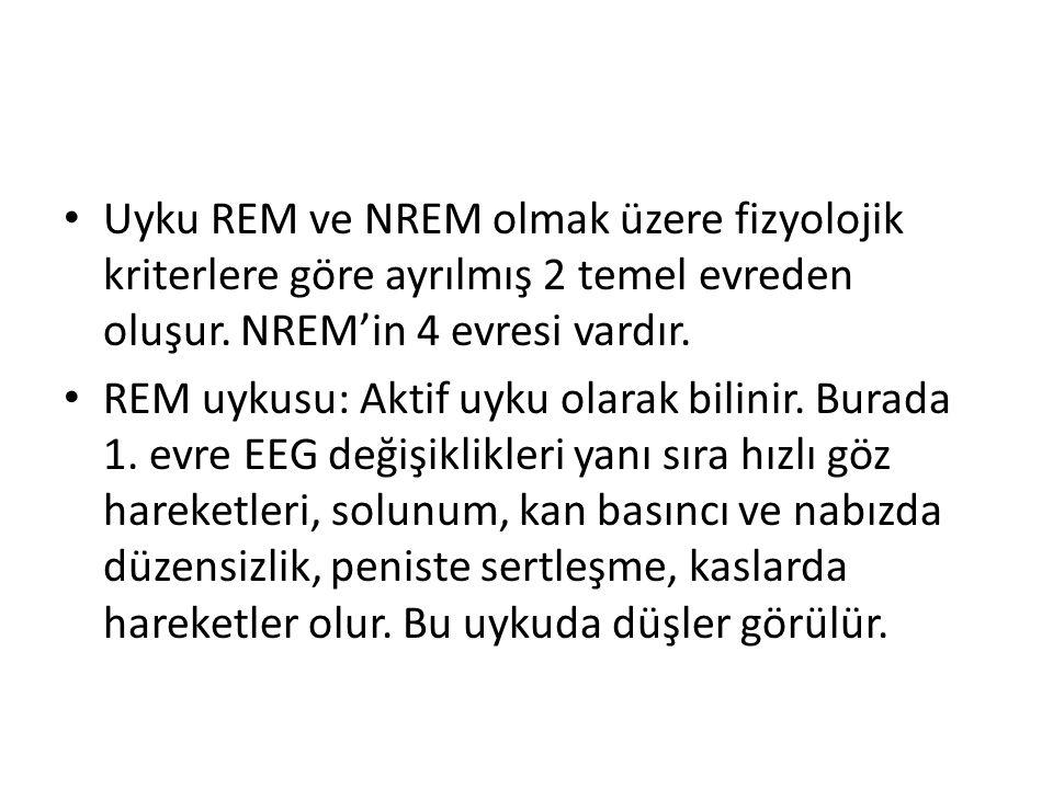 Uyku REM ve NREM olmak üzere fizyolojik kriterlere göre ayrılmış 2 temel evreden oluşur. NREM'in 4 evresi vardır. REM uykusu: Aktif uyku olarak bilini