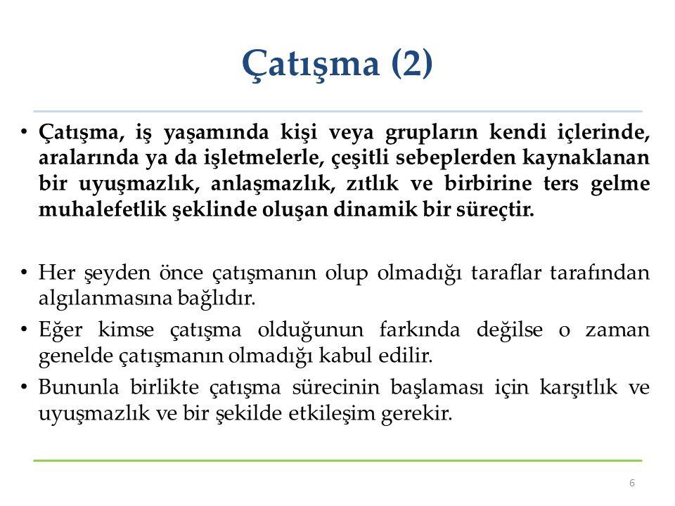 Aşama III: Niyetler (3) Temel olarak beş farklı çatışmayı ele alma niyeti bulunmaktadır.
