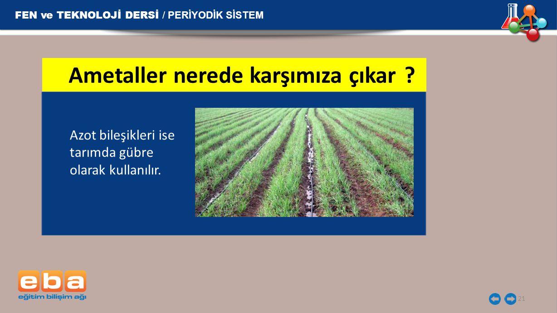 FEN ve TEKNOLOJİ DERSİ / PERİYODİK SİSTEM 21 Azot bileşikleri ise tarımda gübre olarak kullanılır. Ametaller nerede karşımıza çıkar?