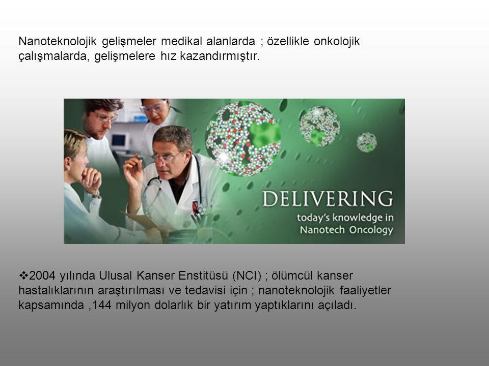 Nanoteknoloji kullanımı ile 4 dalda onkolojik çalışmalar devam etmektedir.