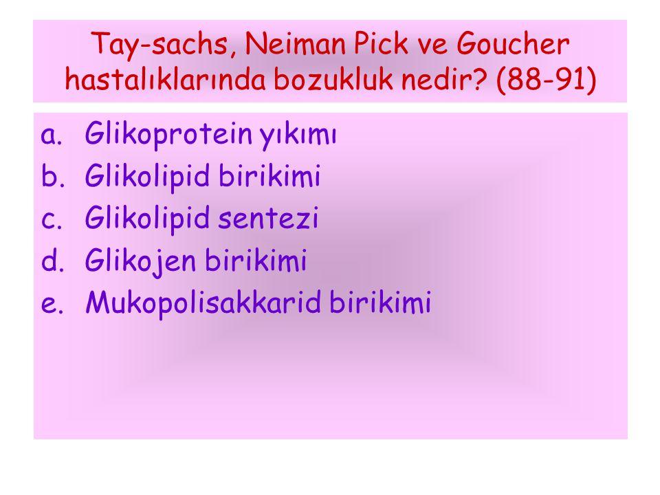 Tay-sachs, Neiman Pick ve Goucher hastalıklarında bozukluk nedir? (88-91) a.Glikoprotein yıkımı b.Glikolipid birikimi c.Glikolipid sentezi d.Glikojen