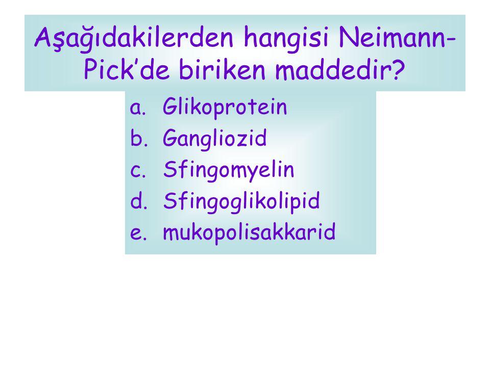 Aşağıdakilerden hangisi Neimann- Pick'de biriken maddedir? a.Glikoprotein b.Gangliozid c.Sfingomyelin d.Sfingoglikolipid e.mukopolisakkarid