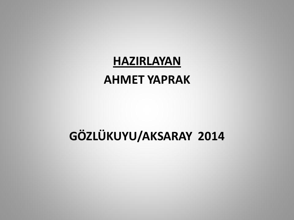 HAZIRLAYAN AHMET YAPRAK GÖZLÜKUYU/AKSARAY 2014