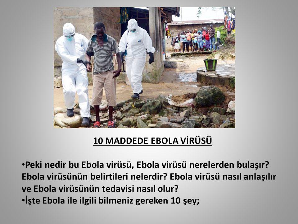 10 MADDEDE EBOLA VİRÜSÜ Peki nedir bu Ebola virüsü, Ebola virüsü nerelerden bulaşır? Ebola virüsünün belirtileri nelerdir? Ebola virüsü nasıl anlaşılı