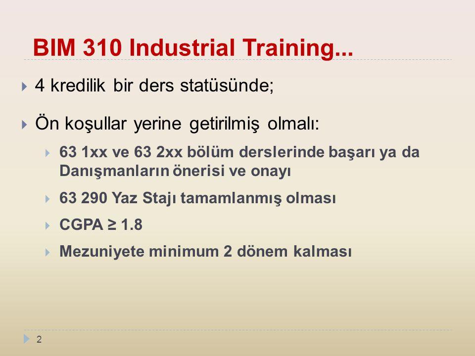 BIM 310 Industrial Training...  4 kredilik bir ders statüsünde;  Ön koşullar yerine getirilmiş olmalı:  63 1xx ve 63 2xx bölüm derslerinde başarı y