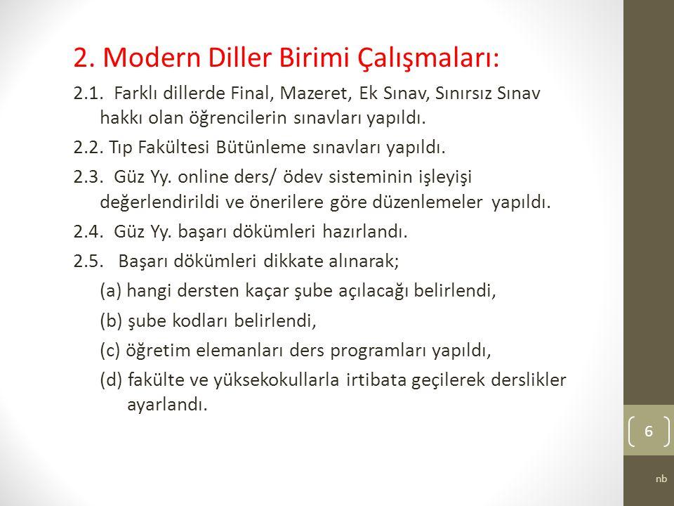2. Modern Diller Birimi Çalışmaları: 2.1.