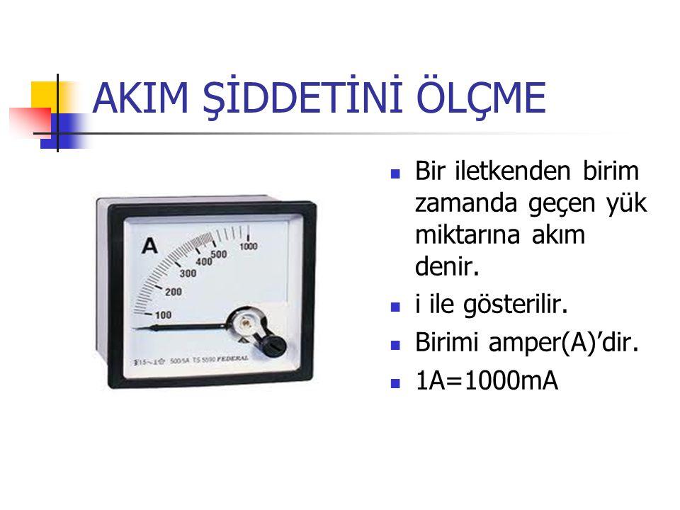 AKIM ŞİDDETİNİ ÖLÇME Bir iletkenden birim zamanda geçen yük miktarına akım denir. i ile gösterilir. Birimi amper(A)'dir. 1A=1000mA