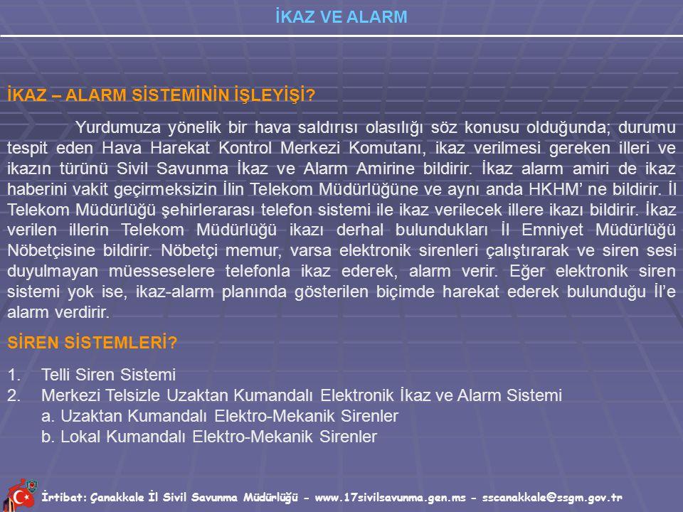 İrtibat: Çanakkale İl Sivil Savunma Müdürlüğü - www.17sivilsavunma.gen.ms - sscanakkale@ssgm.gov.tr İKAZ VE ALARM İKAZ – ALARM NEDİR? Düşman hava sald